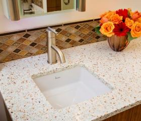 Recycled Glass Vanity Countertop with Mother of Pearl Danze Faucet
