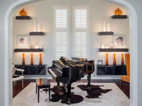 Custom Decoleather Wrapped Shelves in Music Room